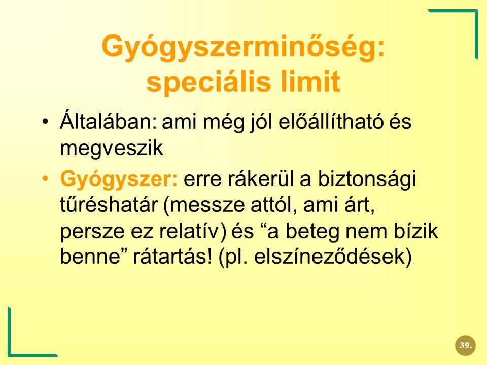Gyógyszerminőség: speciális limit
