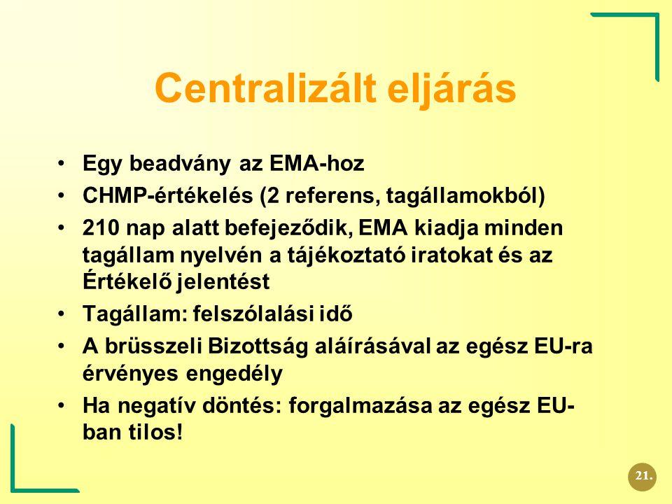 Centralizált eljárás Egy beadvány az EMA-hoz