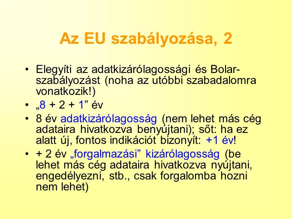 Az EU szabályozása, 2 Elegyíti az adatkizárólagossági és Bolar-szabályozást (noha az utóbbi szabadalomra vonatkozik!)
