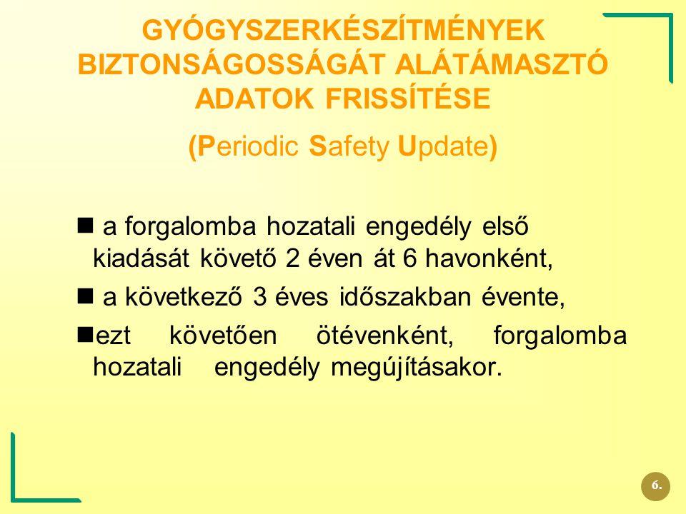 GYÓGYSZERKÉSZÍTMÉNYEK BIZTONSÁGOSSÁGÁT ALÁTÁMASZTÓ ADATOK FRISSÍTÉSE (Periodic Safety Update)