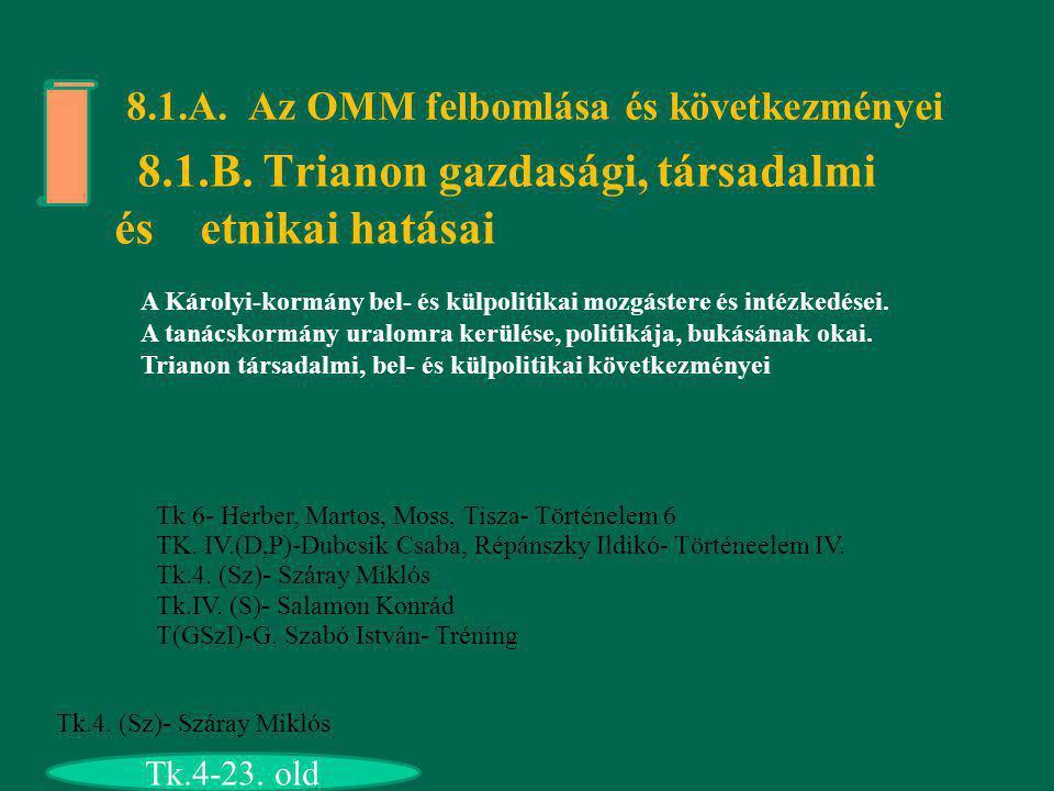 8.1.A. Az OMM felbomlása és következményei