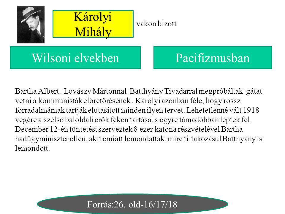 Károlyi Mihály Wilsoni elvekben Pacifizmusban Forrás:26. old-16/17/18