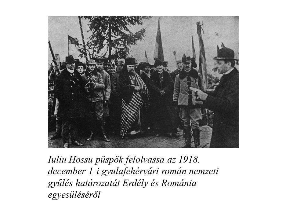 Iuliu Hossu püspök felolvassa az 1918