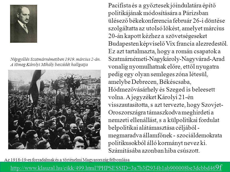 Az 1918-19-es forradalmak és a történelmi Magyarország felbomlása