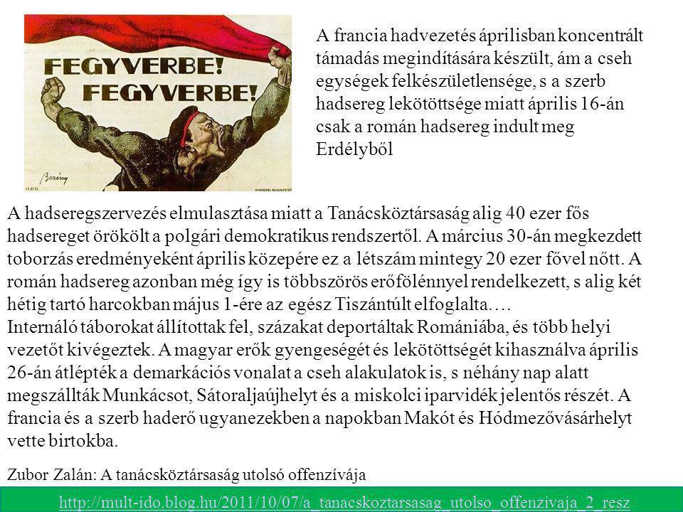 A francia hadvezetés áprilisban koncentrált támadás megindítására készült, ám a cseh egységek felkészületlensége, s a szerb hadsereg lekötöttsége miatt április 16-án csak a román hadsereg indult meg Erdélyből