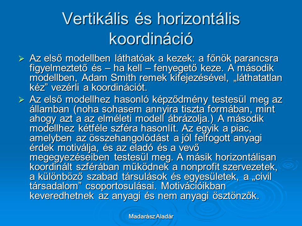 Vertikális és horizontális koordináció
