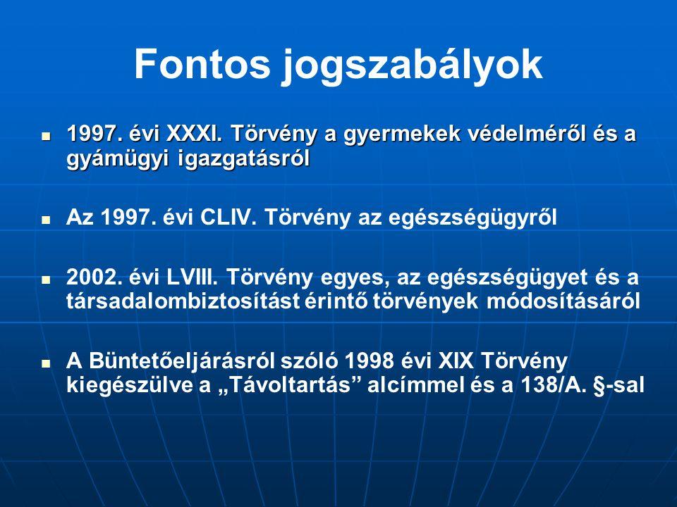 Fontos jogszabályok 1997. évi XXXI. Törvény a gyermekek védelméről és a gyámügyi igazgatásról. Az 1997. évi CLIV. Törvény az egészségügyről.