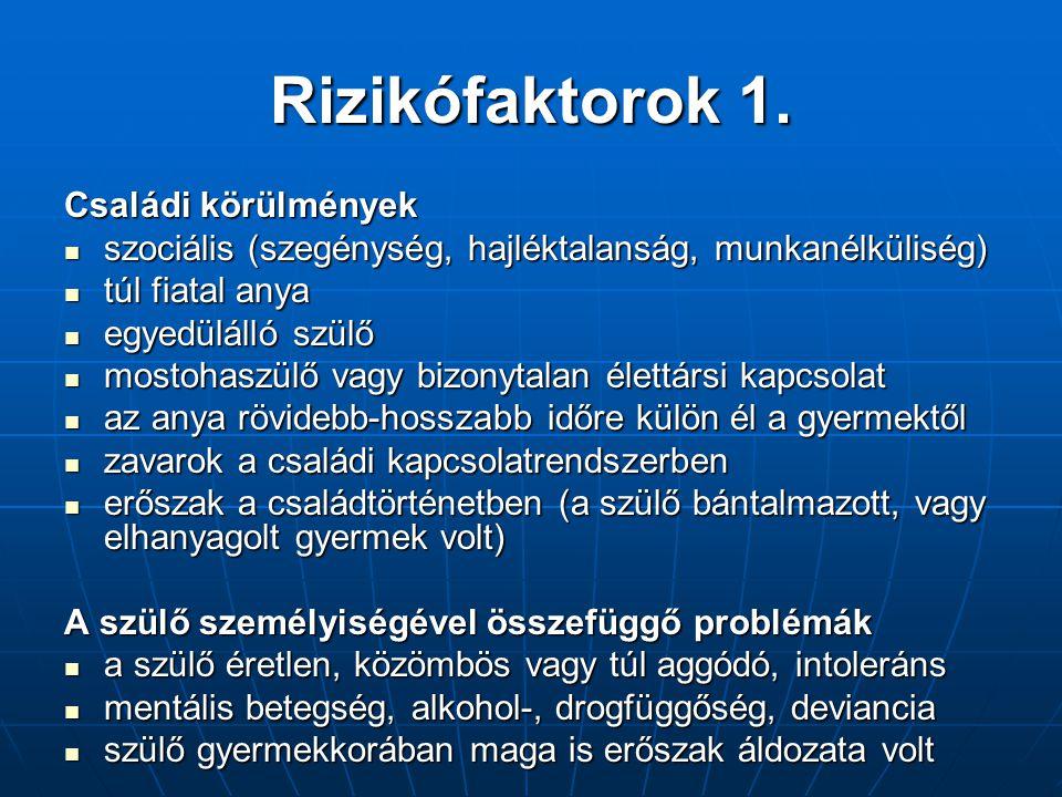 Rizikófaktorok 1. Családi körülmények