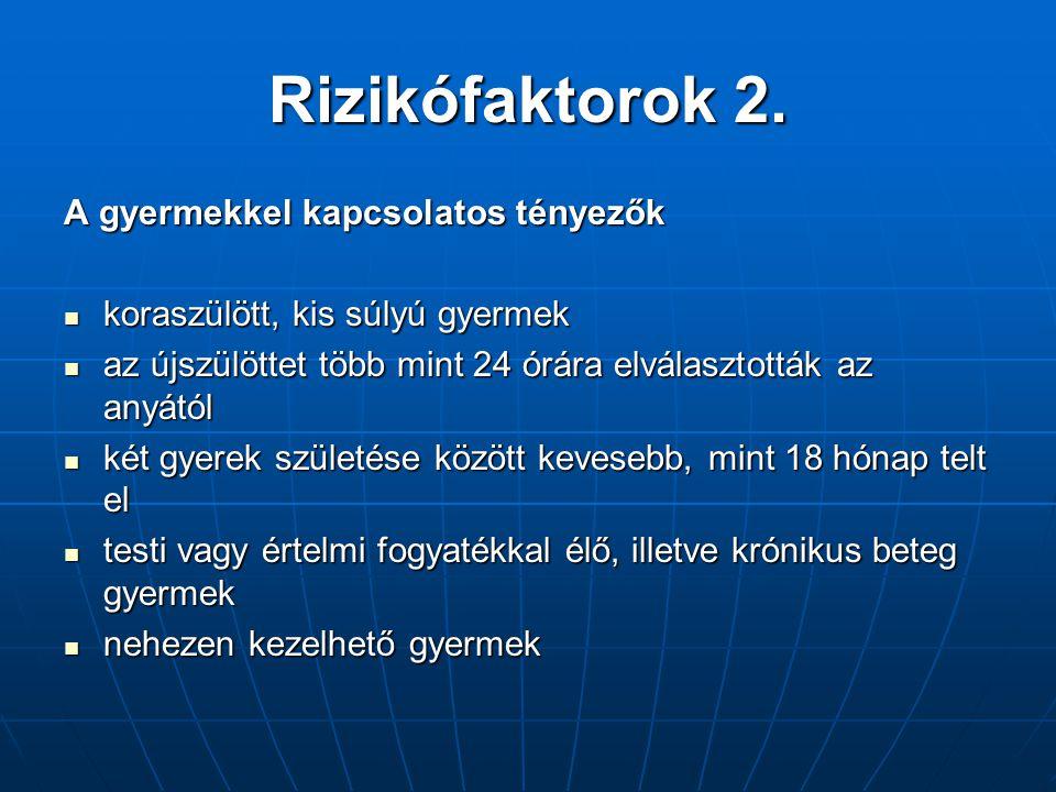 Rizikófaktorok 2. A gyermekkel kapcsolatos tényezők