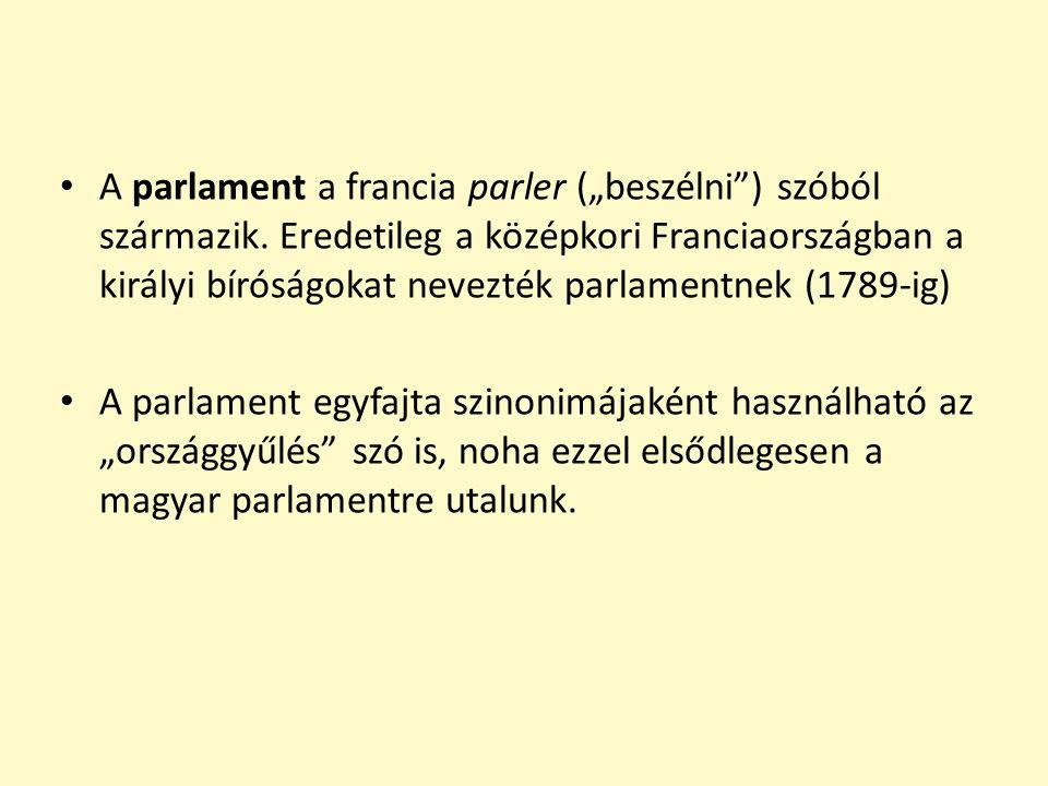 """A parlament a francia parler (""""beszélni ) szóból származik"""