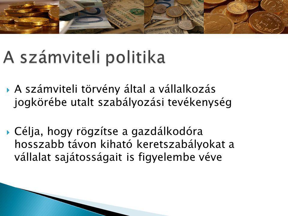 A számviteli politika A számviteli törvény által a vállalkozás jogkörébe utalt szabályozási tevékenység.