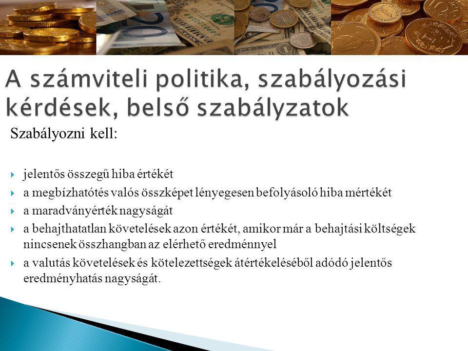 A számviteli politika, szabályozási kérdések, belső szabályzatok