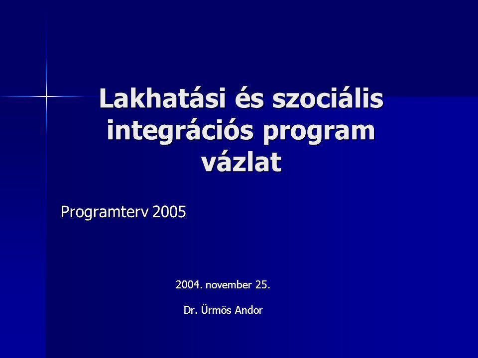 Lakhatási és szociális integrációs program vázlat