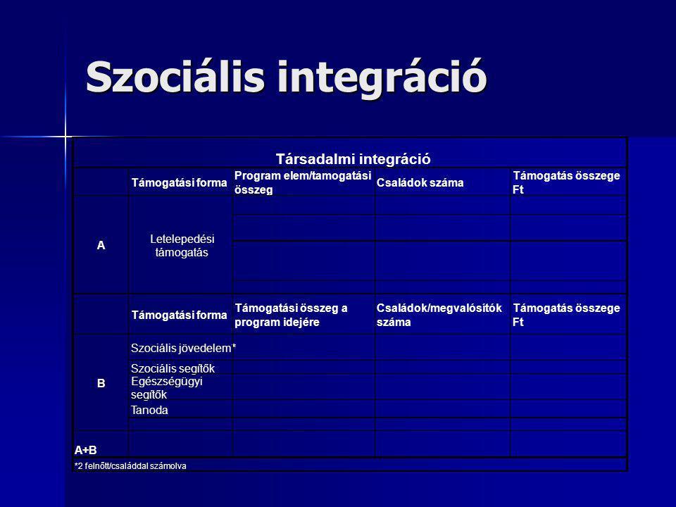 Szociális integráció Társadalmi integráció Támogatási forma