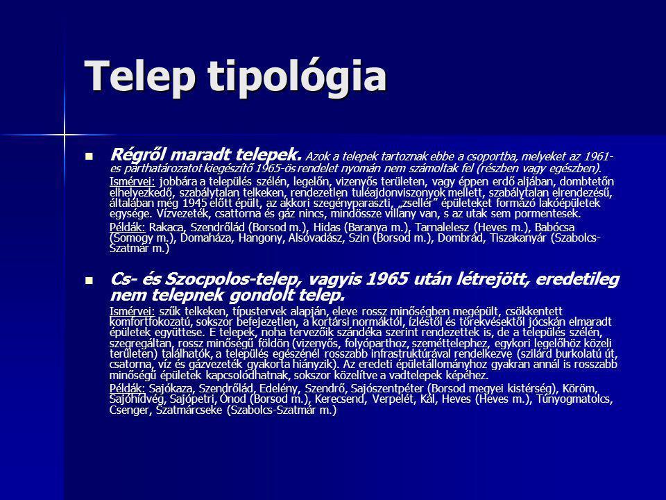 Telep tipológia