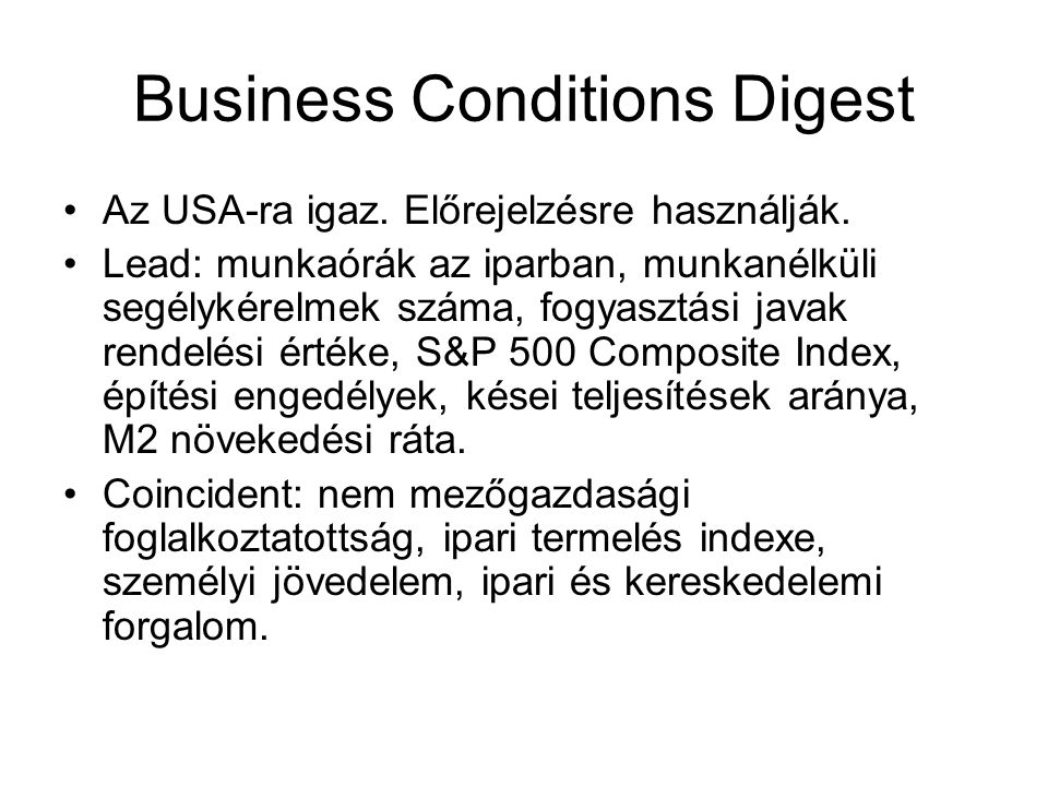 Business Conditions Digest