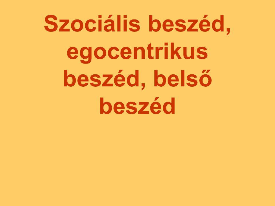Szociális beszéd, egocentrikus beszéd, belső beszéd
