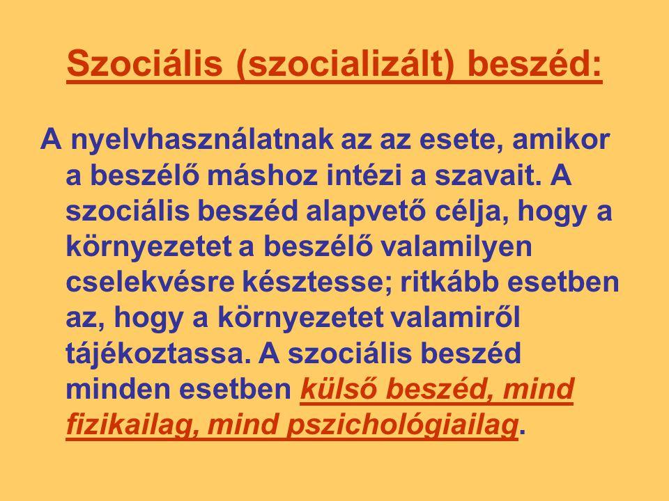 Szociális (szocializált) beszéd: