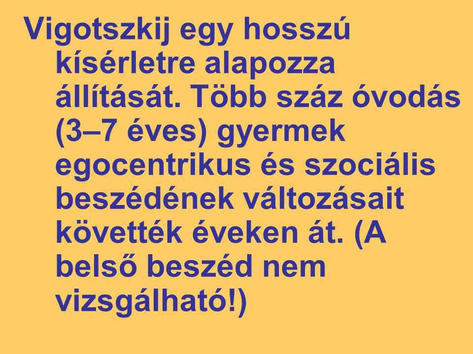 Vigotszkij egy hosszú kísérletre alapozza állítását