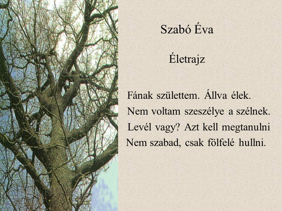 Szabó Éva Életrajz Fának születtem. Állva élek.