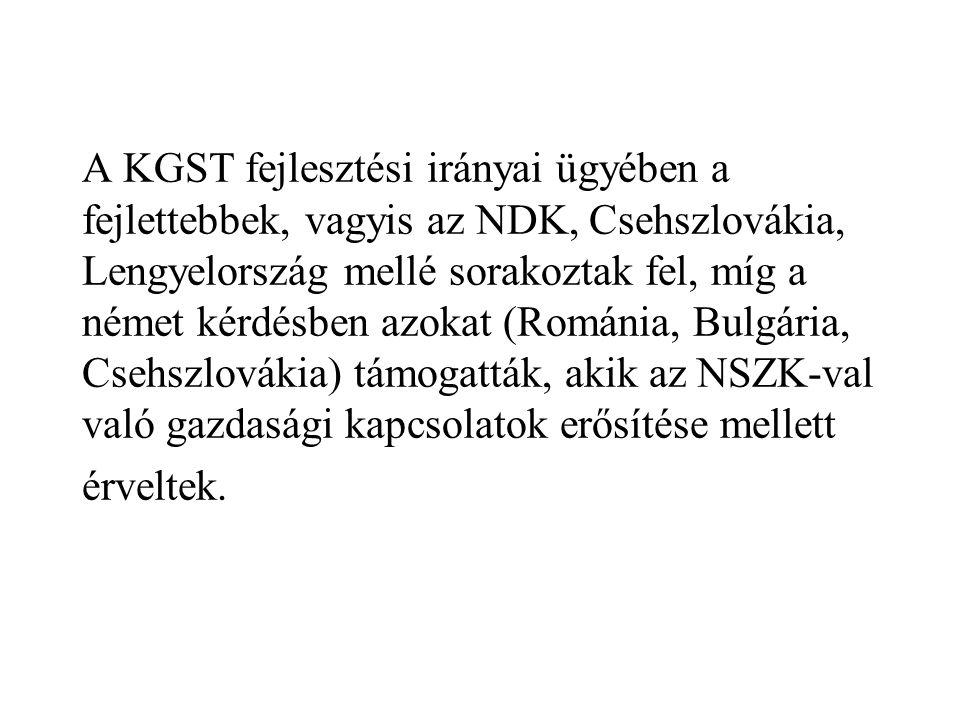 A KGST fejlesztési irányai ügyében a fejlettebbek, vagyis az NDK, Csehszlovákia, Lengyelország mellé sorakoztak fel, míg a német kérdésben azokat (Románia, Bulgária, Csehszlovákia) támogatták, akik az NSZK-val való gazdasági kapcsolatok erősítése mellett érveltek.