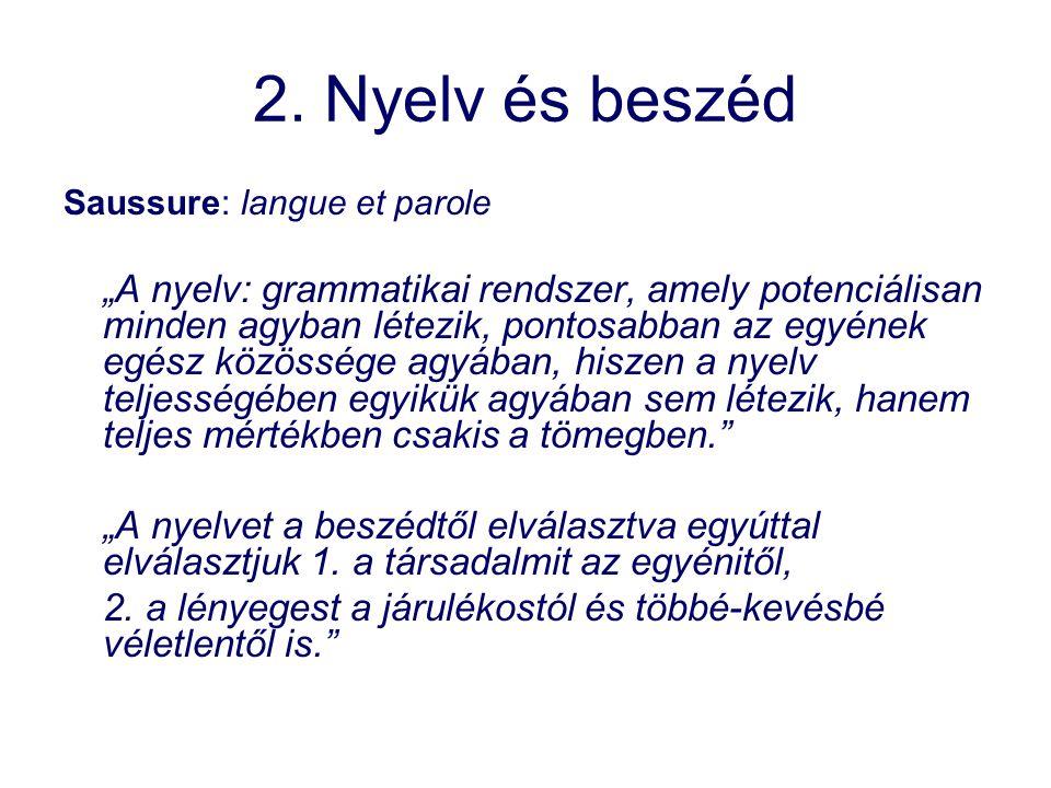 2. Nyelv és beszéd Saussure: langue et parole.