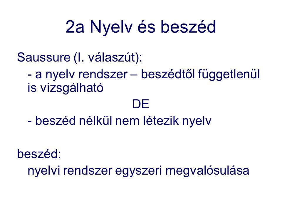 2a Nyelv és beszéd Saussure (I. válaszút):