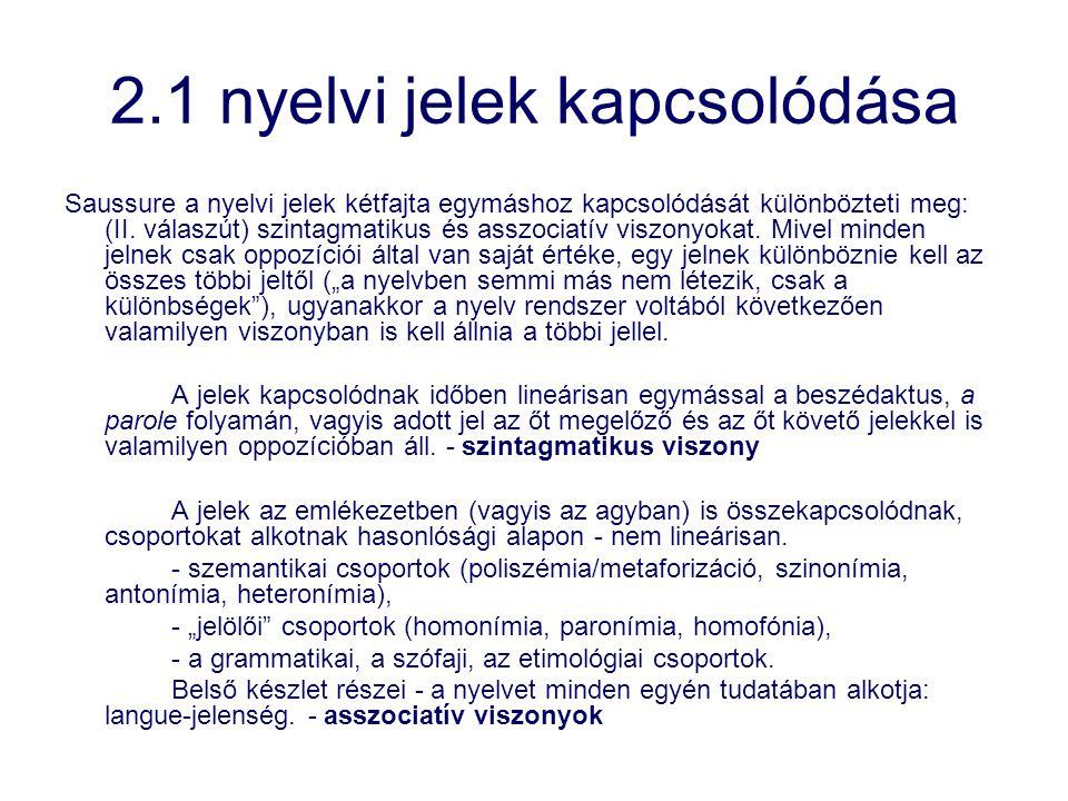 2.1 nyelvi jelek kapcsolódása