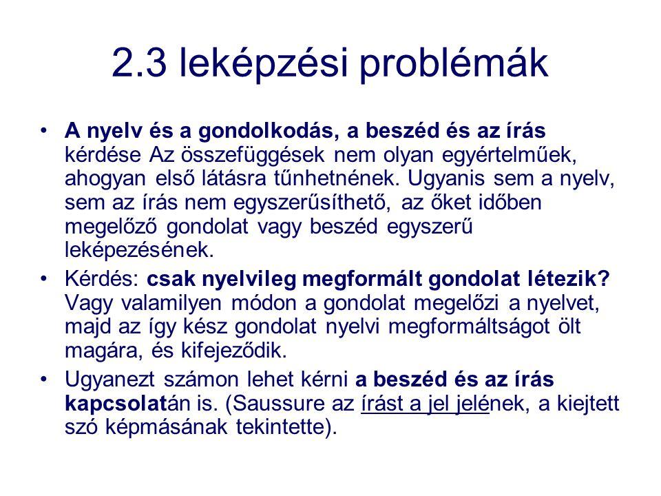 2.3 leképzési problémák