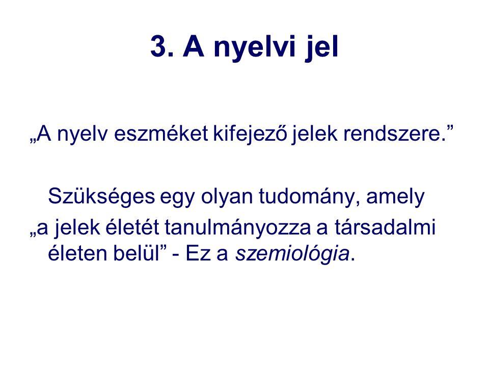 """3. A nyelvi jel """"A nyelv eszméket kifejező jelek rendszere."""
