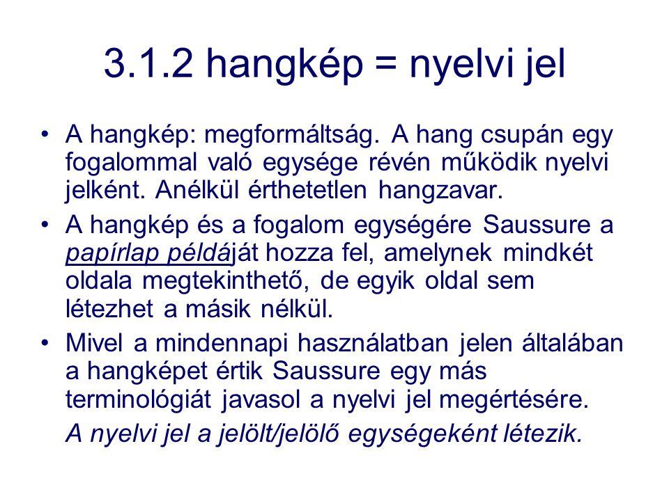 3.1.2 hangkép = nyelvi jel