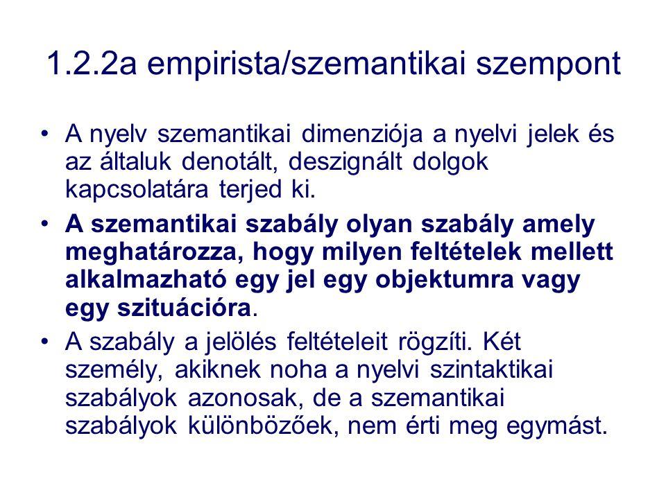 1.2.2a empirista/szemantikai szempont