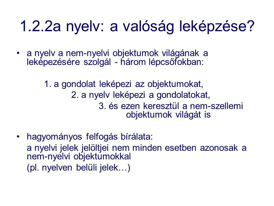 1.2.2a nyelv: a valóság leképzése