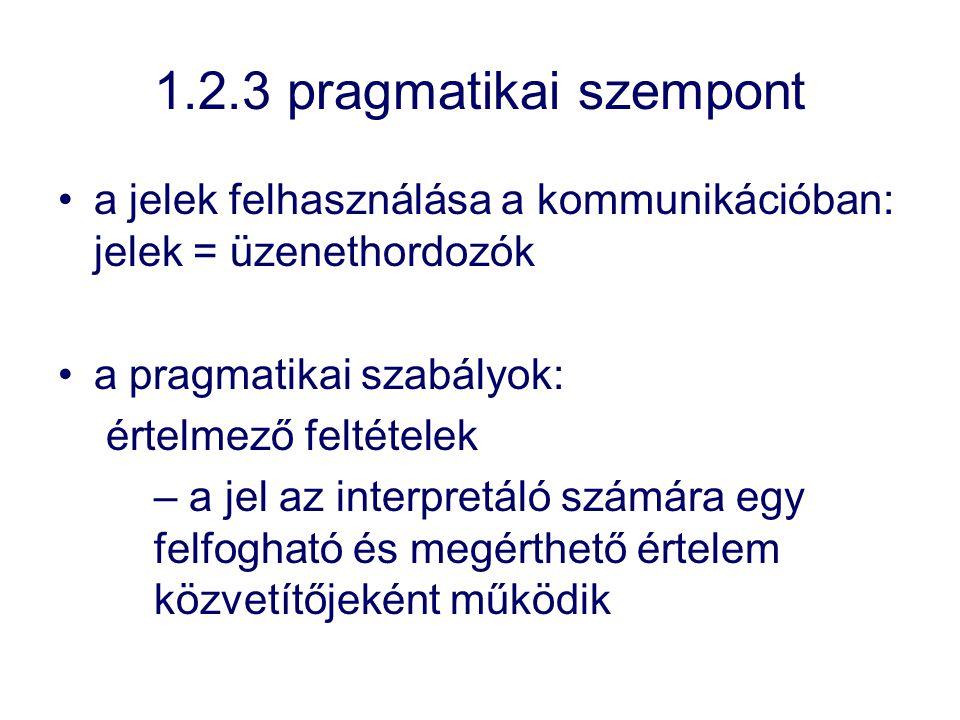 1.2.3 pragmatikai szempont a jelek felhasználása a kommunikációban: jelek = üzenethordozók. a pragmatikai szabályok: