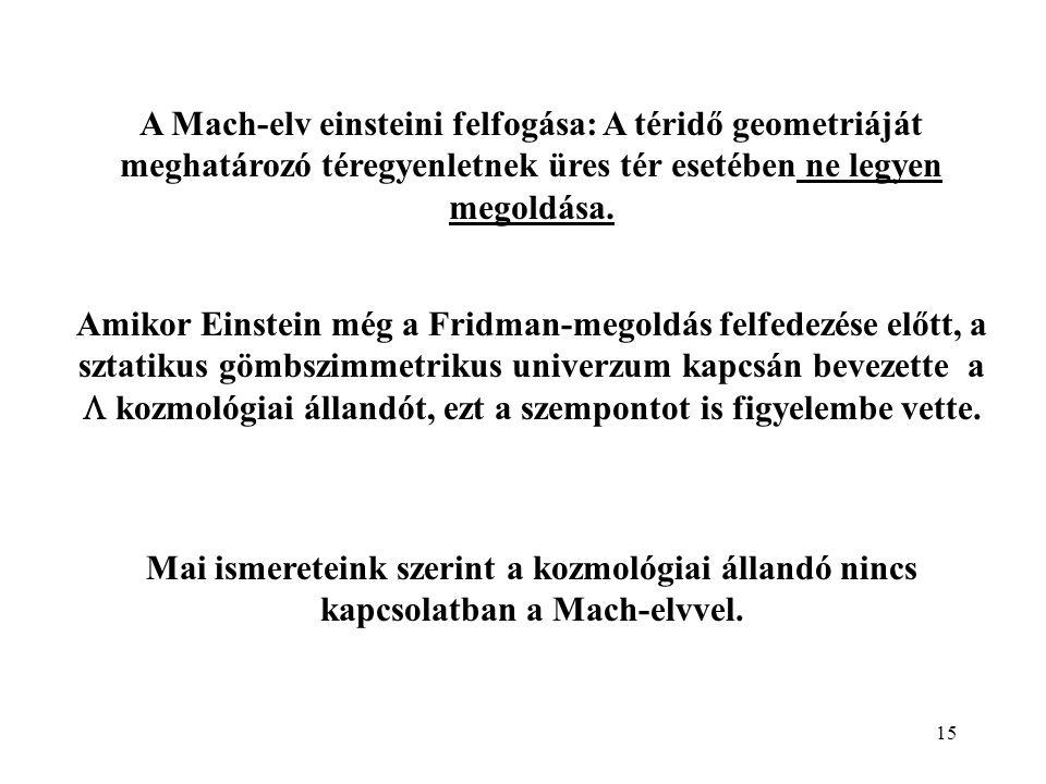 A Mach-elv einsteini felfogása: A téridő geometriáját meghatározó téregyenletnek üres tér esetében ne legyen megoldása.