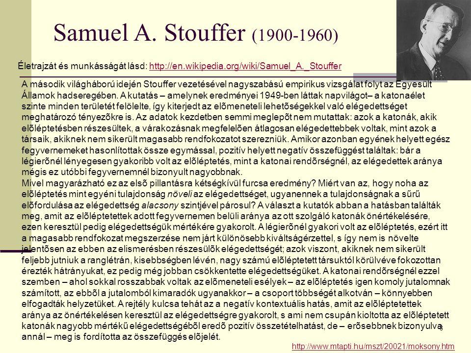Samuel A. Stouffer (1900-1960) Életrajzát és munkásságát lásd: http://en.wikipedia.org/wiki/Samuel_A._Stouffer.