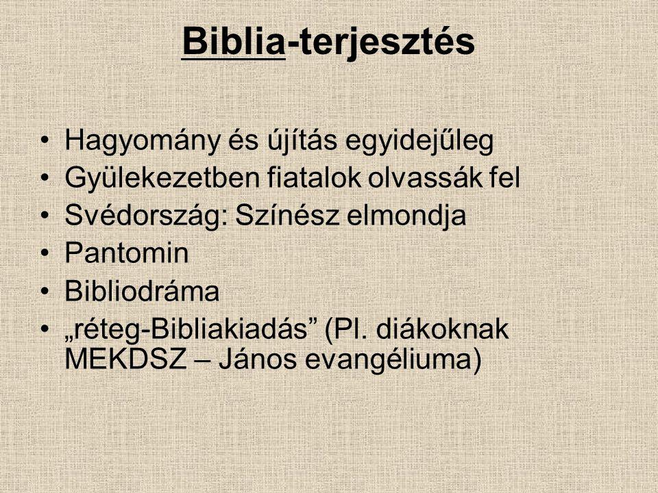 Biblia-terjesztés Hagyomány és újítás egyidejűleg