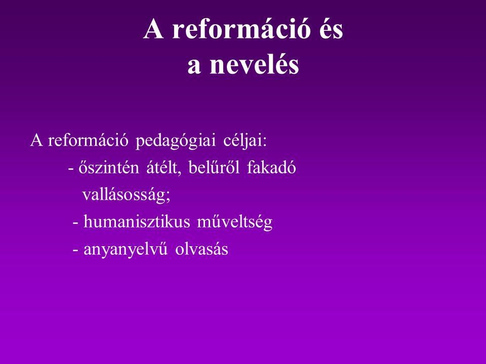 A reformáció és a nevelés
