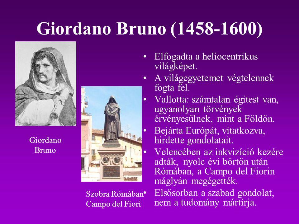 Giordano Bruno (1458-1600) Elfogadta a heliocentrikus világképet.