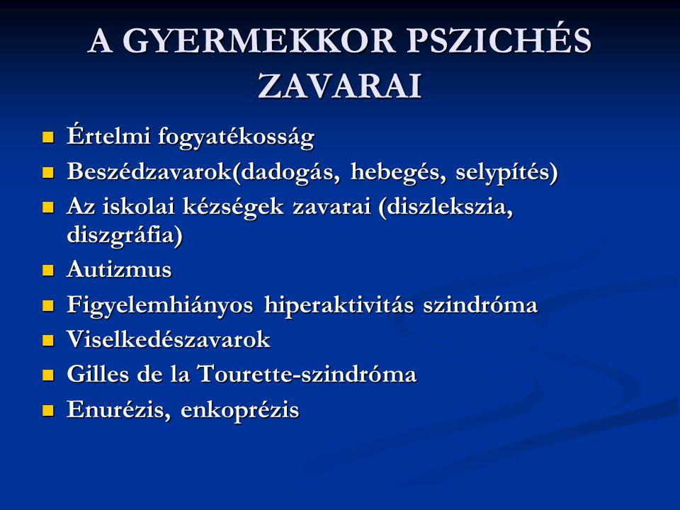 A GYERMEKKOR PSZICHÉS ZAVARAI