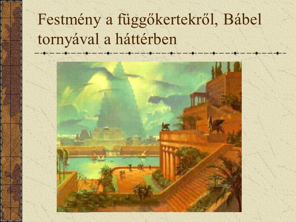 Festmény a függőkertekről, Bábel tornyával a háttérben