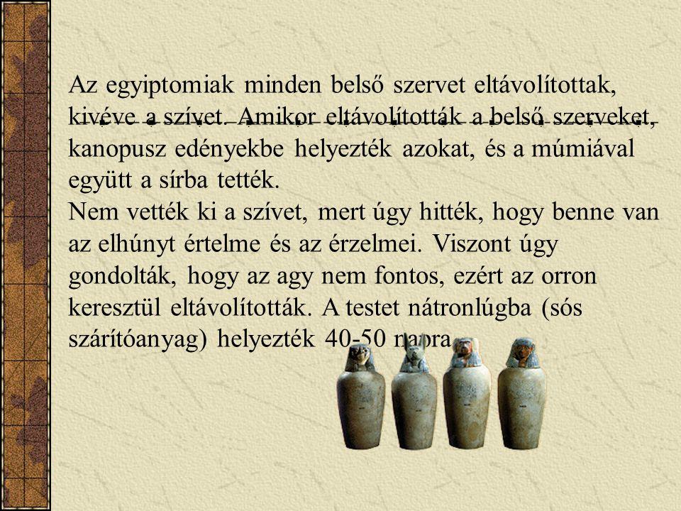 Az egyiptomiak minden belső szervet eltávolítottak, kivéve a szívet