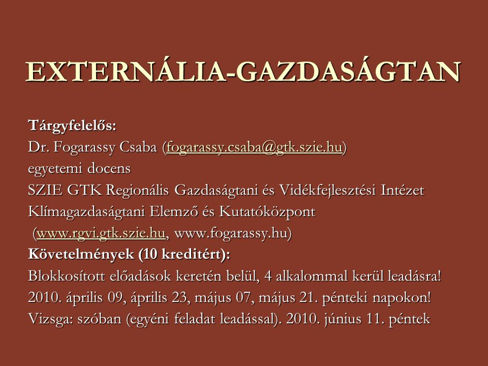 EXTERNÁLIA-GAZDASÁGTAN