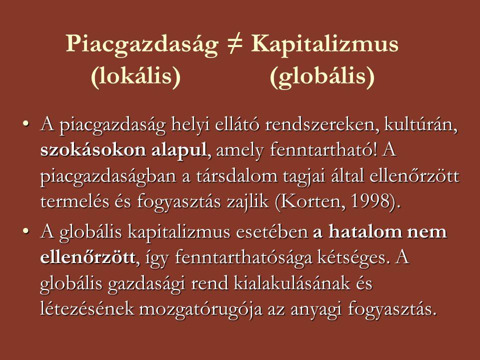 Piacgazdaság ≠ Kapitalizmus (lokális) (globális)