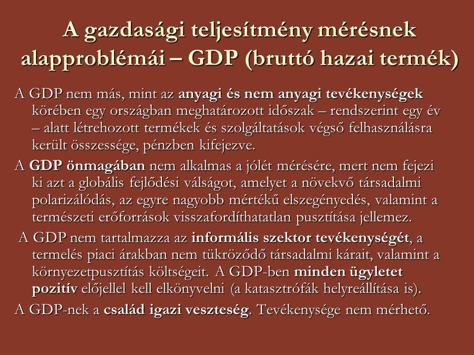 A gazdasági teljesítmény mérésnek alapproblémái – GDP (bruttó hazai termék)