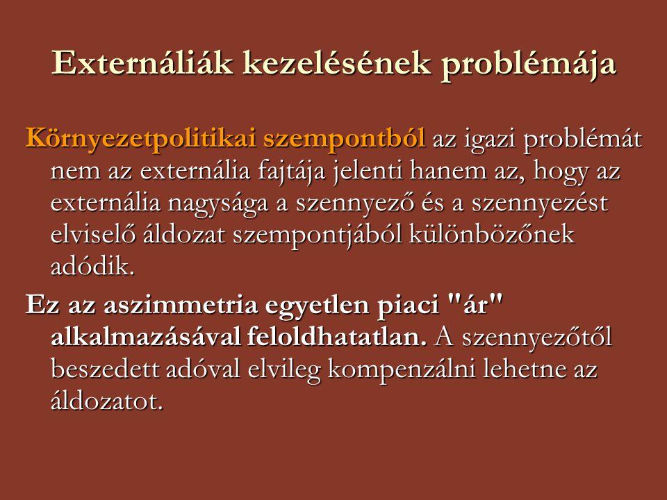 Externáliák kezelésének problémája