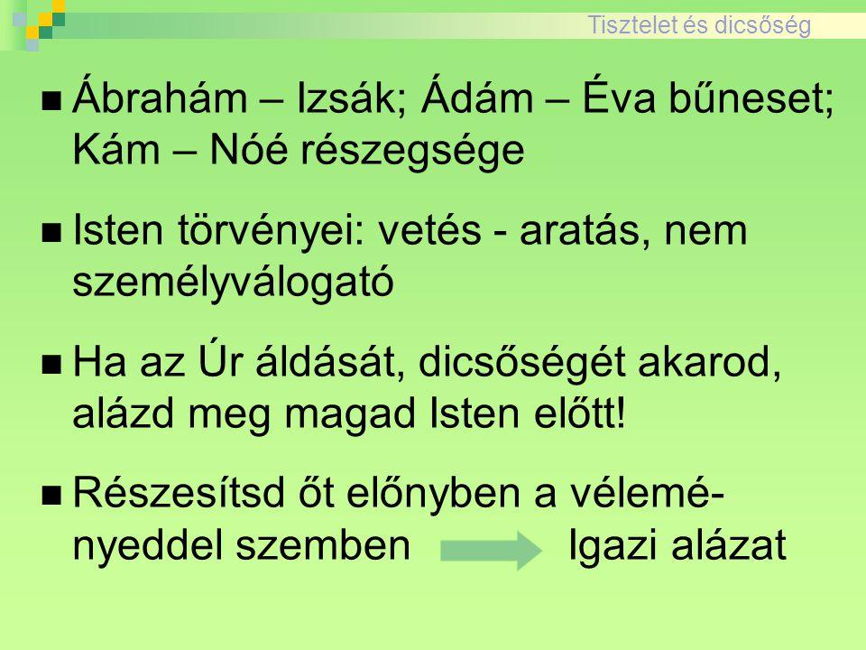 Ábrahám – Izsák; Ádám – Éva bűneset; Kám – Nóé részegsége