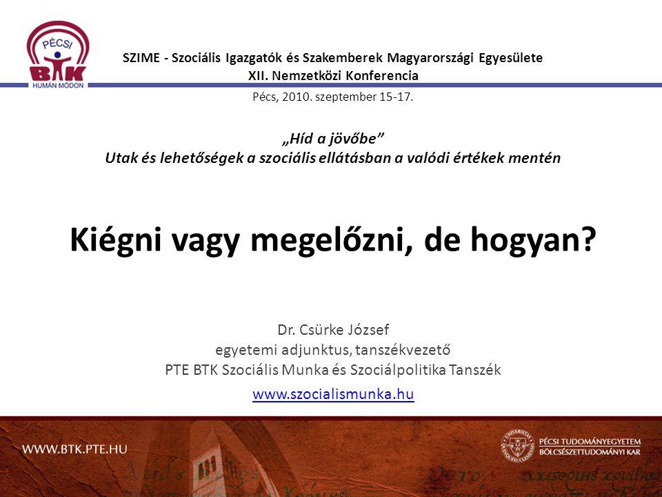"""SZIME - Szociális Igazgatók és Szakemberek Magyarországi Egyesülete XII. Nemzetközi Konferencia Pécs, 2010. szeptember 15-17. """"Híd a jövőbe Utak és lehetőségek a szociális ellátásban a valódi értékek mentén Kiégni vagy megelőzni, de hogyan"""