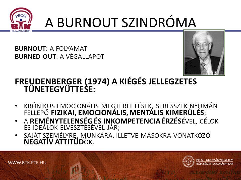 A BURNOUT SZINDRÓMA BURNOUT: A FOLYAMAT. BURNED OUT: A VÉGÁLLAPOT. FREUDENBERGER (1974) A KIÉGÉS JELLEGZETES TÜNETEGYÜTTESE: