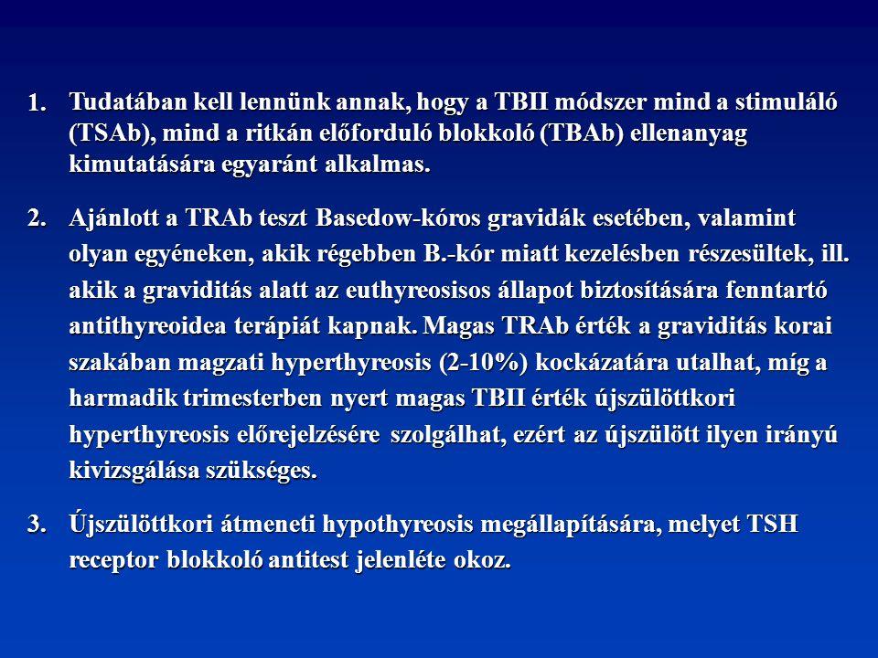 1. Tudatában kell lennünk annak, hogy a TBII módszer mind a stimuláló. (TSAb), mind a ritkán előforduló blokkoló (TBAb) ellenanyag.